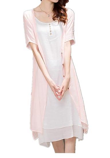 0ebc5d9274f Enlishop Women s Casual Linen Sleeveless Open Cardigan Two Pieces Maxi Dress  at Amazon Women s Clothing store