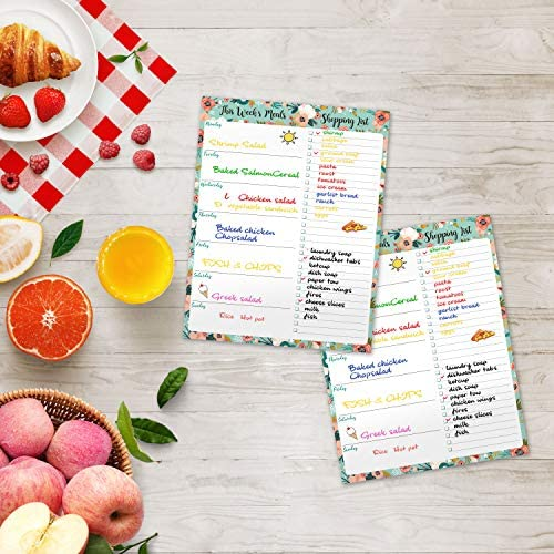 "Weekly Meal Planner - Grocery List Magnetic Notepads 7"" x 9"" Meal Planning Pad with Tear Off Shopping List for Convenient Shopping - Notepad with Magnet for Refrigerator or Desk"