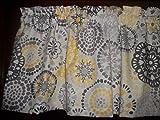 Gray Yellow Circle Polka Dot retro waverly fabric kitchen curtain topper Valance 42' by 13''