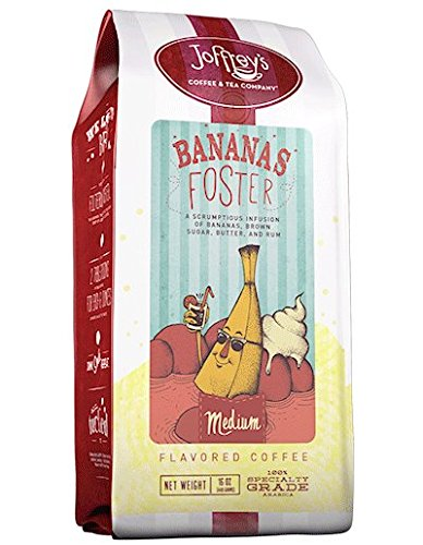 Joffrey's Coffee & Tea Co. Big Easy dessert-inspired Banana's Foster with decadent Brown Sugar, Butter and Rum flavors, Medium Roast Ground 16 ounce Flavored Coffee