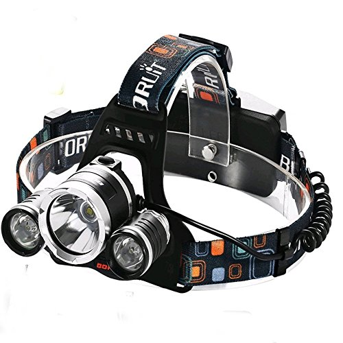 Boruit RJ-5000 5000 Lumen Led Headlamp Bright Headlight Head Flaslight Torch 3 XM-L2 LED with Rechargeable Batteries and Wall Charger for Hiking Camping Hunting Riding Night Fishing - 5000 Ca
