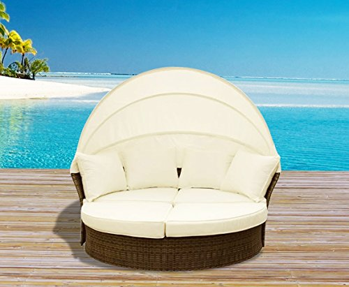 Outdoor Patio Wicker Furniture Pool Lounge All Weathered Gray Garden Round Double With Canopy Bed Set (Garden Lounge San Antonio)