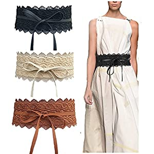 Toptim Women's Lace Belt Bow Tie Wrap Faux Leather Boho Band Corset 3-Pack