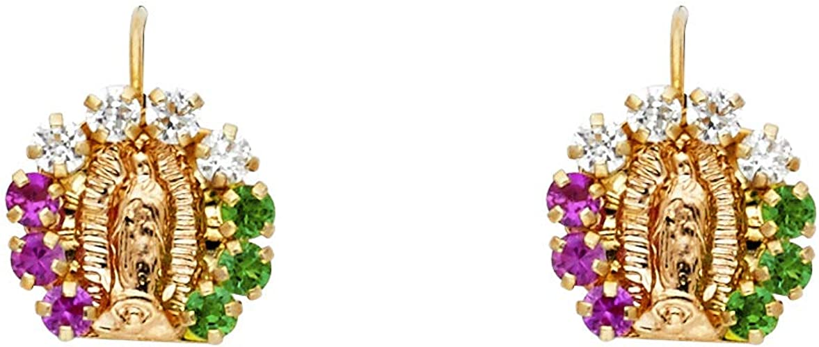 14K Yellow Gold Birthstone Lady Guadalupe Stud Earrings for Baby and Children.