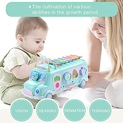 EFOSHM Intellectual School Bus Baby Toy, Piano Bus Toys with Shape Puzzles Knocking Piano Music Educational Toys Gifts for Baby, Toddler, Preschooler(Blue): Toys & Games