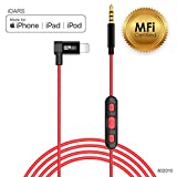 iDARS Apple MFi Certified 3.5mm Lightning AUX Cable Lightning Audio Cable with Microphone & Remote Control Aux Cable for Car