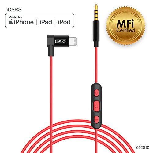 iDARS Apple MFi Certified 3.5mm Lightning AUX Cable Lightning Audio Cable with Microphone & Remote Control Aux Cable for Car, Hi-Fi Headphones, Bluetooth Speakers Support iPhone Xs/XS MAX/XR/X