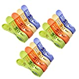 Daixers 12pcs 4.7'' Durable Large Beach Towel Clips Plastic Clothespins Clothes Pegs Pins Clothes Hanger Clamp