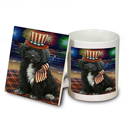 4th of July Independence Day Firework Cockapoo Dog Mug and Coaster Set MUC52413 (Dishwasher Independence Coasters Safe)