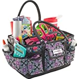 "Everything Mary Deluxe Store & Tote Organizer 13.5""X10""X8""-Black & Purple Damask W/Black Trim"