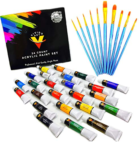 Acrylic Paint Set 24 Colors- Bonus 10 Acrylic Paint Brushes Included - Acrylic Paints for Artists - Heavy Body Acrylic Paint - Artist Quality Acrylic Paint - Canvas Paint with Acrylic Paint Brush Set ()