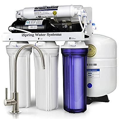 iSpring RCC7P 5-Stage Residential Under-Sink Reverse Osmosis Water Filter System w/ Booster Pump - WQA Gold Seal Certified, 75 GPD