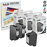 LD Remanufactured Replacement Ink for HP 45 & HP 23 Combo Set - 2 Black HP 45 (51645A) and 1 Tri-Color HP 23 (C1283D) + Free 20 Pack of LD Brand 4x6 Photo Paper