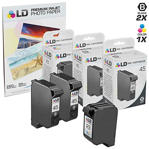 LD Remanufactured Ink Cartridge Replacements for HP 45 & HP 23 (2 Black, 1 Tri-Color, 3-Pack) ()