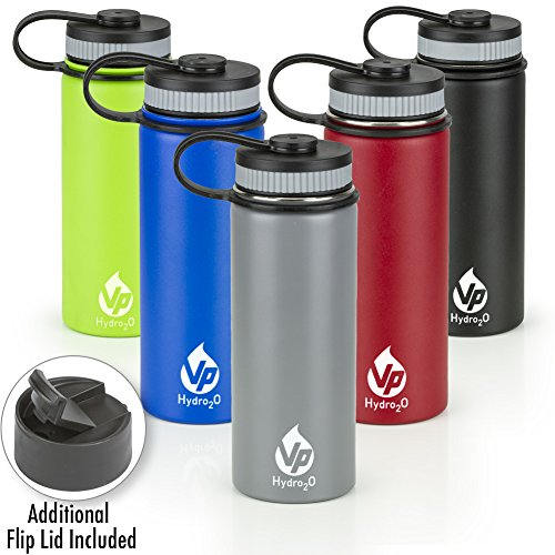 VP Hydro2o Double-Walled Vacuum Insulated 18/8 Stainless Steel Power Coated Water Bottle Includes Flip Top and Wide Mouth Lid, 18oz. (Ice Grey)