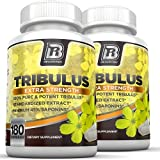 BRI Nutrition Tribulus Terrestris - 180 Count 45% Steroidal Saponins - Highest Purity On The Market - 1500mg Maximum Strength Bulgarian Tribulus - 2-Pack