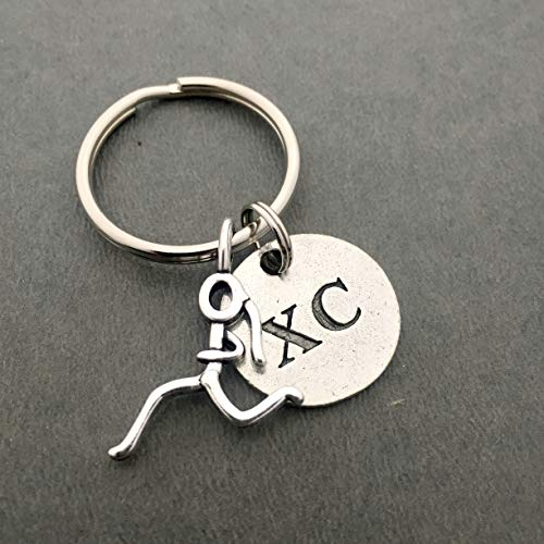 XC RUNNER GIRL Pewter Pendant Key Chain - Pewter Running Girl Stick Figure Charm and Round Pewter XCPendant on Round Stainless Steel Key Ring