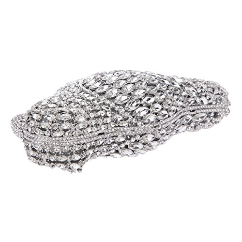 Crystal for Bag Bonjanvye Evening Clutch Purses Silver Women Parrot q11CdI