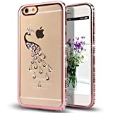 iPhone 7,Double-Lin Peacock Glitter Bling Crystal Rhinestone Diamond Clear Rubber Plating Transparent TPU Soft Bumper Case Cover for iPhone 7 Rose