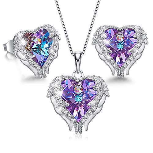 CDE Angel Wing Heart Necklaces and Earrings for Mothers Day Embellished with Crystals from Swarovski 18K White Gold Plated Jewelry Set Women (6_Purple (Sterling Silver)) -