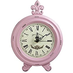 Retro Vintage Table Clock,Decorative Table Clock,Silent No Ticking Antique Table Desk Clock, Pink Color (Pink)