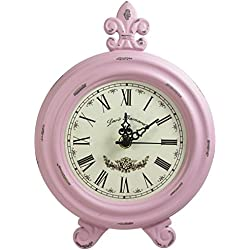KiaoTime Retro Vintage Table Clock,Decorative Table Clock,Silent No Ticking Antique Table Desk Clock, Pink Color (Pink)