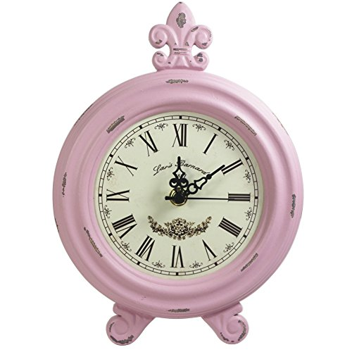 KiaoTime Retro Vintage Table Clock,Decorative Table Clock,Silent No Ticking Antique Table Desk Clock, Pink Color (Pink) by KiaoTime