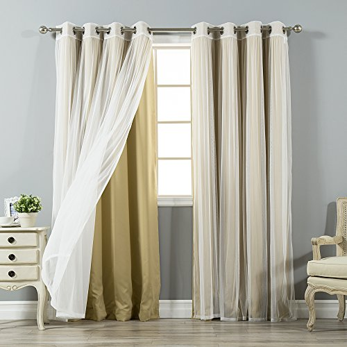 Triple Layer Tulle - Best Home Fashion Mix & Match Tulle Sheer Lace and Blackout Curtain Set - Stainless Steel Nickel Grommet Top - Wheat - 52
