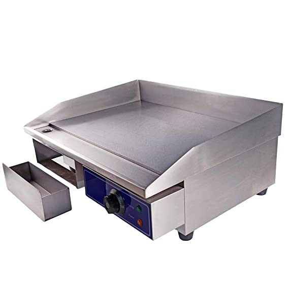 UK Plug TAIMIKO Electric Griddle Commercial Counter Top Grill Stainless Steel Kitchen Grill Flat Hotplate Fried Pans BBQ Burger Bacon Egg Fryer Barbeque,3000W