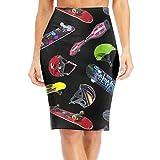 WANING MOON Women's Rock Hip Hop Skateboarding High Waist Slim Skirt Office Pencil Dress for Women Length