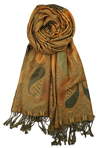 Achillea Soft Silky Multi Color Paisley Pashmina Double Layered Shawl Scarf Wrap Stole (Gold Green) ()