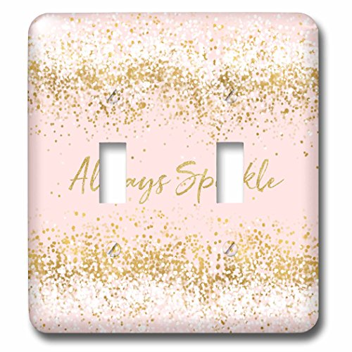 Confetti Lamp - 3dRose PS Glam - Image of Pink Gold Confetti Always Sparkle - Light Switch Covers - double toggle switch (lsp_274220_2)