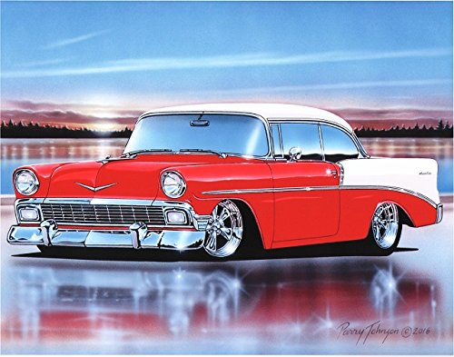 1956 Chevy 210 2 Door Hardtop Hot Rod Car Art Print Red & White 11x14 Poster