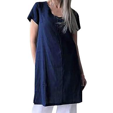 VEMOW Mini Vestido Blouses Tops de Manga Corta de algodón y Lino ...
