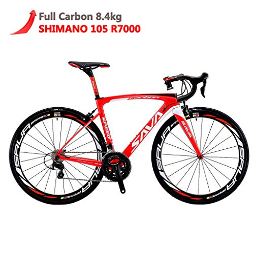Carbon Road Bike, SAVA HERD6.0 T800 Carbon Fiber 700C Road Bicycle with 105 22 Speed Groupset Ultra-Light Carbon Wheelset Seatpost Fork Bicycle Red White 52cm