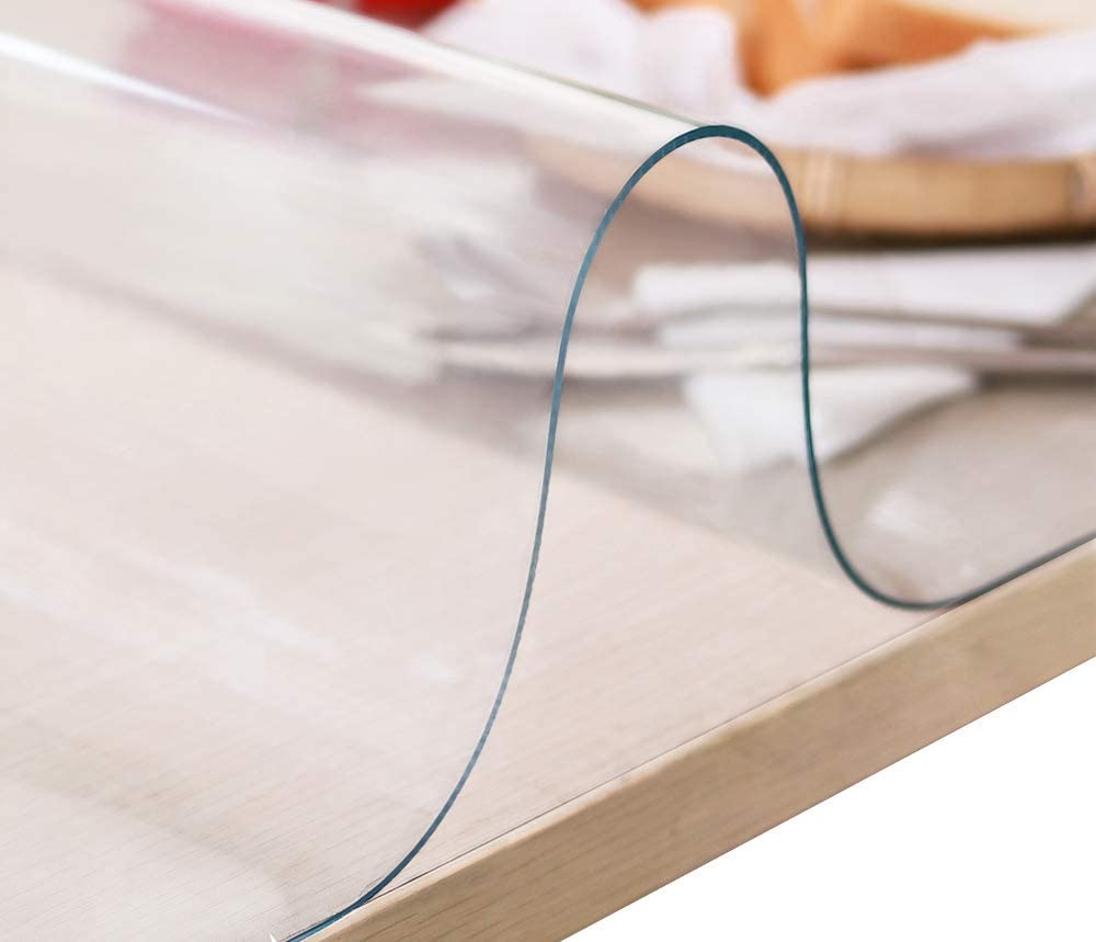 VALLEY TREE 24x48 inch 1.5 mm Thick PVC Clear Desk Protector, Easy Clean Soft Glass Table Pads, Waterproof Table Protector for Dining Table or Office Desk,Customizable Size