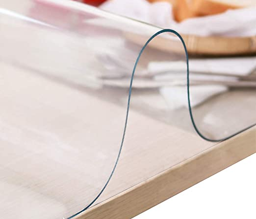 Rectangular Plastic Table Protector PVC Table Pad for Office Computer Desk Pad Mat Writing Desk LovePads 1.5mm Thick 19 x 42 Inches Clear Table Cover Protector