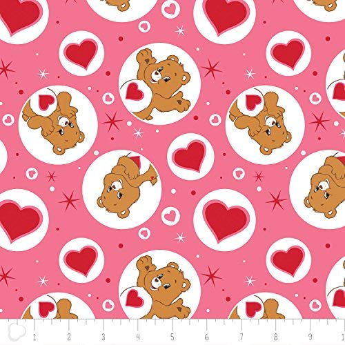 Care Bear Tenderheart Bear in Pink 100% Premium Quality Cotton Fabric by the Yard (Fabric Bear Care)