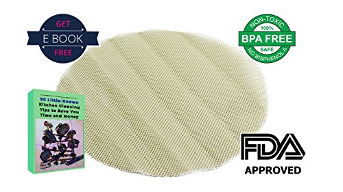 Reusable FDA Approved BPA Free Silicone Non-Stick Liner/Mat/Mesh, 4 Pcs, Round (9.5 inch / 24 cm), Free Ebook