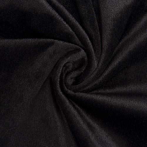 GD Home Fabric Fabric Solid Grommet Curtain, 1 Foot, Black, Pack of 2