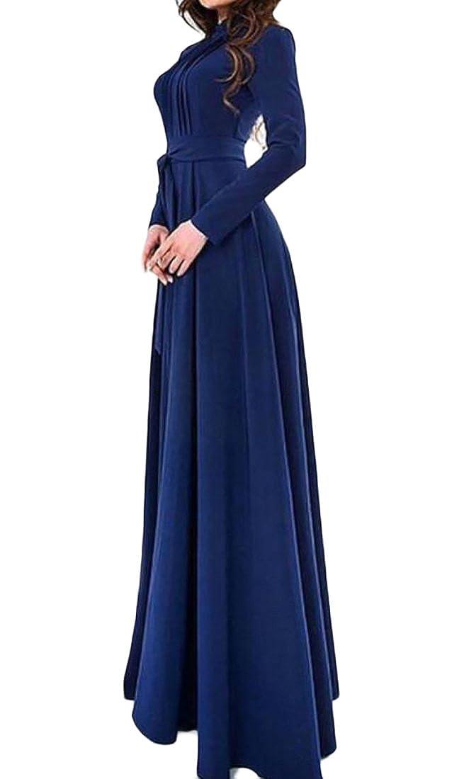 WANSHIYISHE Womens Long Sleeve Round Neck Belted Evening Party Maxi Dress
