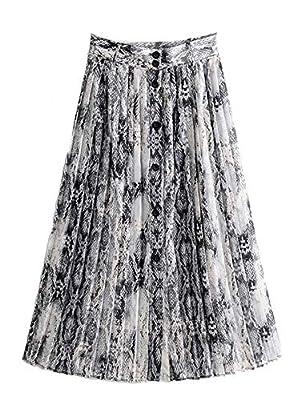 KENANCY Women's Button Front Snakeskin Print High Waist A Line Pleated Flared Midi Skirt