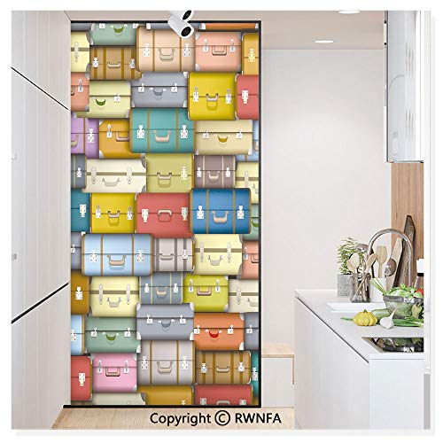 Window Glass Sticker Door Mural Colorful Suitcases Background Vintage Travel Voyage Holiday Themed Artful Design Static Cling Privacy No Glue Film Home Decorative 11.8x59.8inch,Multicolor