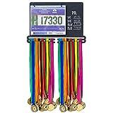 Powerfly Medal Awards Display Rack - Wall Hang Medals Ribbon Trophy Holder with Chalk Area & 20 Bib Sleeves - Frame for Sports Medals, Taekwondo Belt, Marathon, Running, Race, Gymnastics, Triathlon