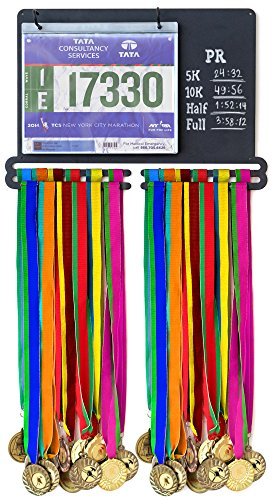 Powerfly Medal Awards Display Rack - Wall Hang Medals Ribbon Trophy Holder with Chalk Area & 20 Bib Sleeves - Frame for Sports Medals, Taekwondo Belt, Marathon, Running, Race, Gymnastics, Triathlon