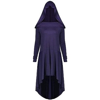 d43907f54a27 MIRRAY Damen Halloween Mantel Lässig Plus Size Lace Up mit Kapuze High Low  Kleid  Amazon.de  Bekleidung