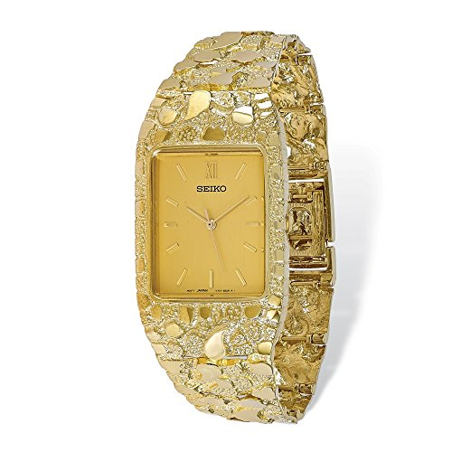 Solid 10k Yellow Gold Big Heavy Champagne 27x47mm Dial Square Face Nugget Watch