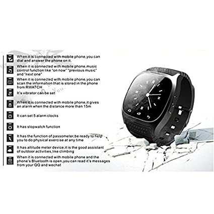 2aa10c4aedc Amazon.com  Ace M26 Bluetooth Smart Watch wristwatch smartwatch With LED  Alitmeter Music Player Pedometer For Apple IOS Android Smart Phone blue   GPS   ...