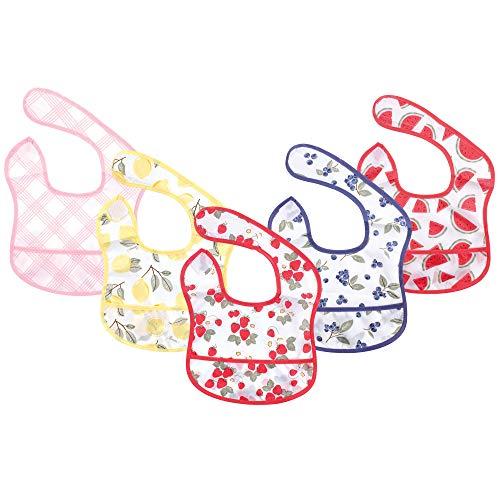 Hudson Baby Unisex Baby Waterproof Polyester Bibs, Strawberries, Beginner