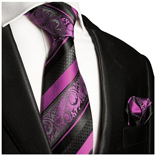 Pink and Black Silk Tie and Pocket Square Paul Malone Red Line